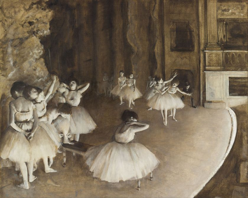 曾圖1-degas-rehearsal of ballet on stage monochrome