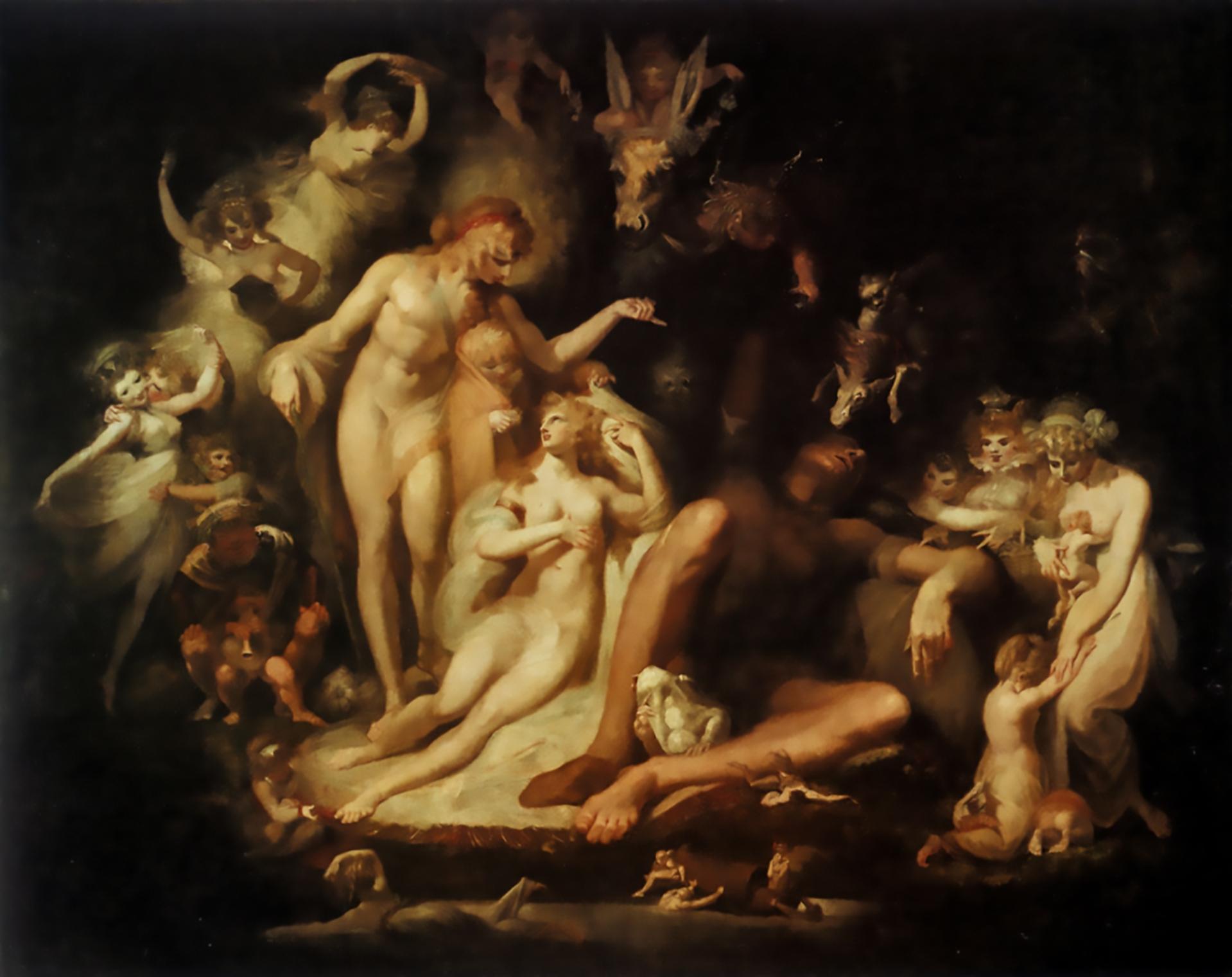 【圖2】Henry Fuseli, Titania's Awakening, 1785 – 1790, Oil on canvas, 222.3×280.7cm, Kunstmuseum, Winterhur