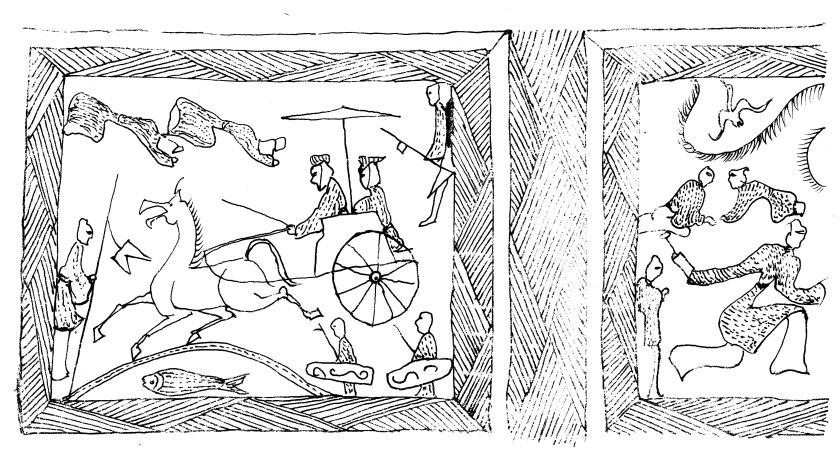 圖1:山東鄒城臥虎山M3石槨畫像線描圖
