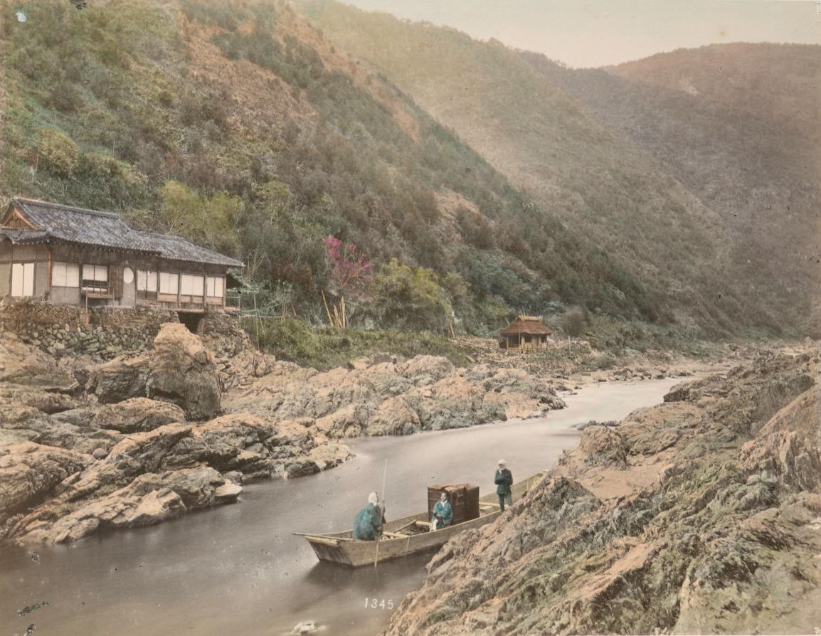 日下部金兵衛,《京都湍流之景》,1880-1899年。蛋白相紙手工上色。(紐約公共圖書館藏) The Miriam and Ira D