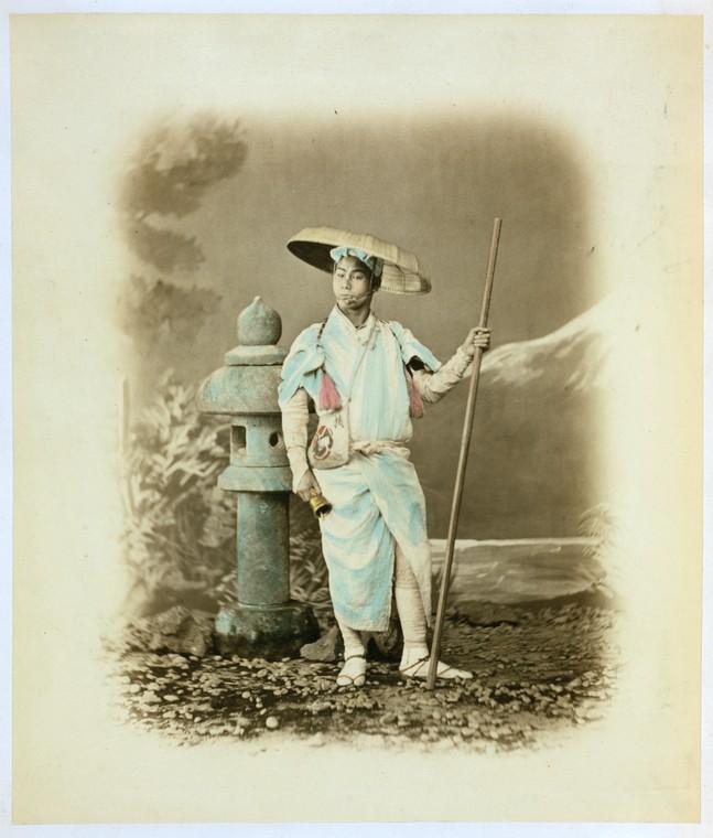 Felice Beato,《富士山朝聖》,1870-1879年。蛋白相紙手工上色。