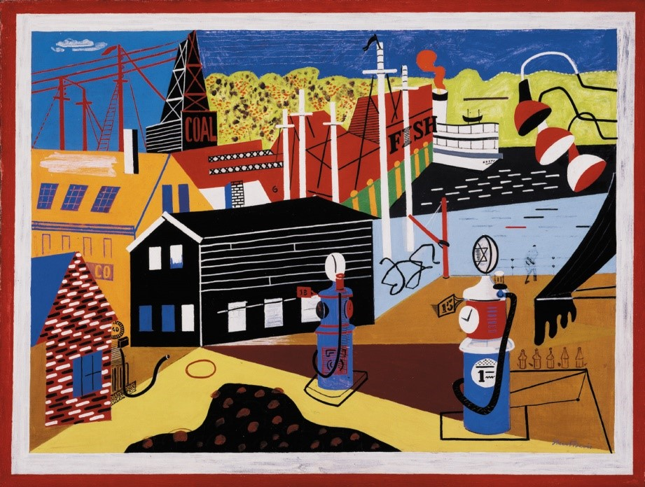 Stuart Davis, Landscape with Garage Lights