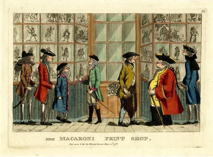 【圖 2】Edward Topham,The Macaroni Print Shop(通心粉版畫店), published by Matthew Darly