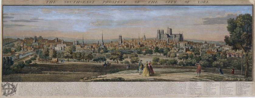 【圖1】 Samuel and Nathaniel Buck,《從東南方遠眺約克城》(The South-East Prospect of the City of York)
