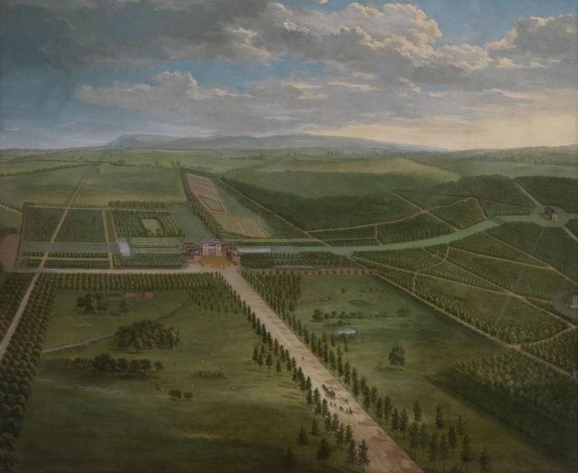 【圖4】 Pieter Andreas Rysbrack,威爾郡托特漢公園的鳥瞰圖(局部)(An Aerial View of Tottenham Park, Wiltshire)