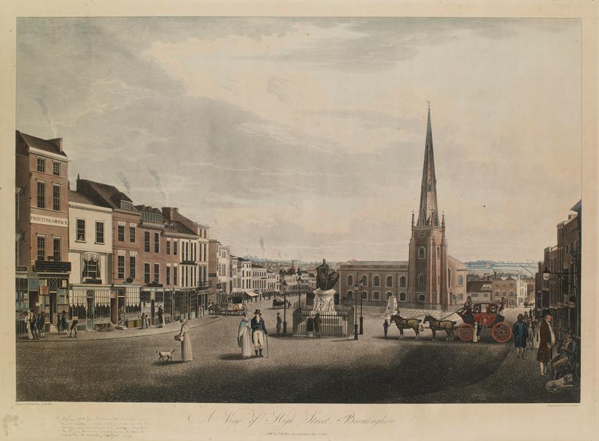 圖3 Thomas Hollins ( J. C. Stadler製版), 《伯明罕大街一景》(A View of High Street, Birmingham )