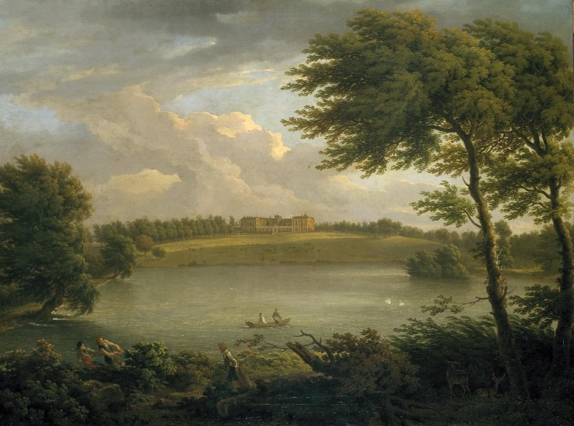George Lambert, Francis Hayman, View of Copped Hall in Essex, from across the Lake