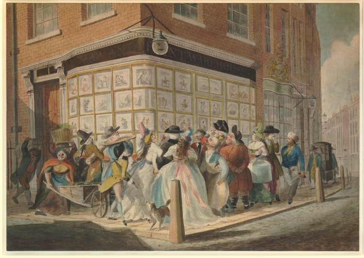 J. Elwood, drawing of a crowd outside a print-shop, 1790. Print on paper, 37.4x53.1cm. British Museum, London.