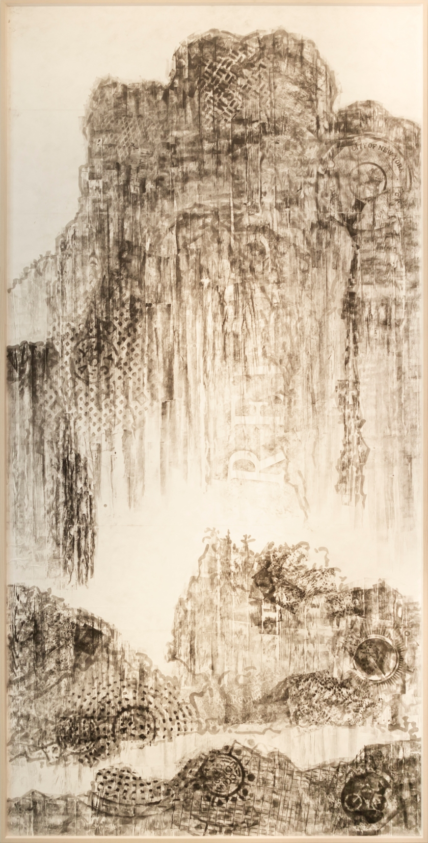 2012_韓湘寧 HAN Hsiang Ning 行旅圖-紐約 Travelers Among Mountains and Streams:New York 2012 油墨、滾筒拓印、聚乙烯纖維紙 Oil ink roller rubbing on tyvek paper 484.4x242cm