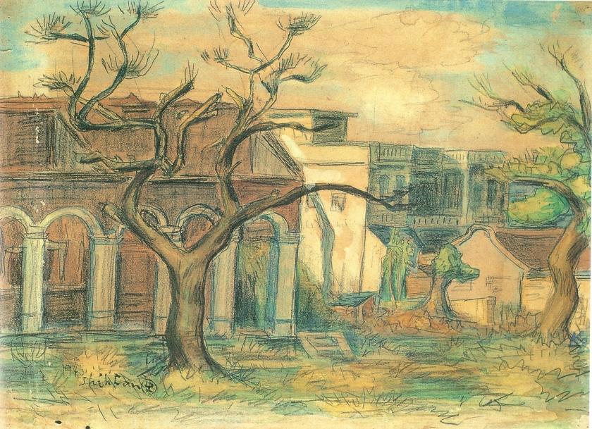 6 鄭世璠 轟炸後的公會堂 1946 水彩8開