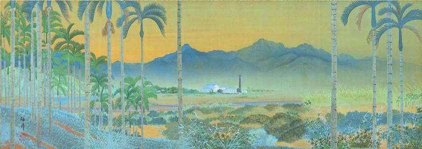 圖2 西郷孤月_台湾風景_絹本著色_42.0 x 118.0_1912_松本市立博物館