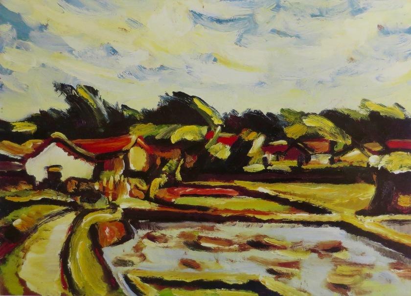 5何德來夏天風景(新竹赤土崎)1933油彩木板24x33cm私人藏